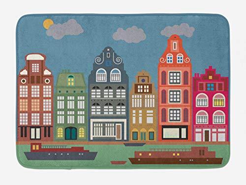 ABAKUHAUS Amsterdam Tappetino da Bagno, Europea Case e Navi, Vasca Doccia WC Tappeto in Peluche con Supporto Antiscivolo, 45 cm x 75 cm, Multicolore