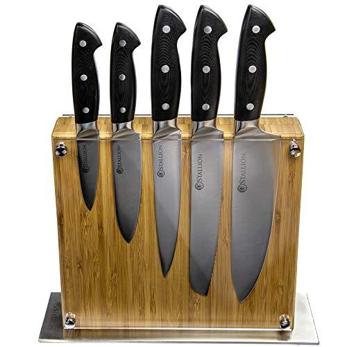 Stallion Professional Messerset mit Messerblock - Klingen aus deutschem 1.4116 Messerstahl und Griff aus G10 GFK