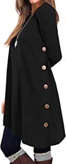KORSIS Women's Long Sleeve Round Neck Button Side T...