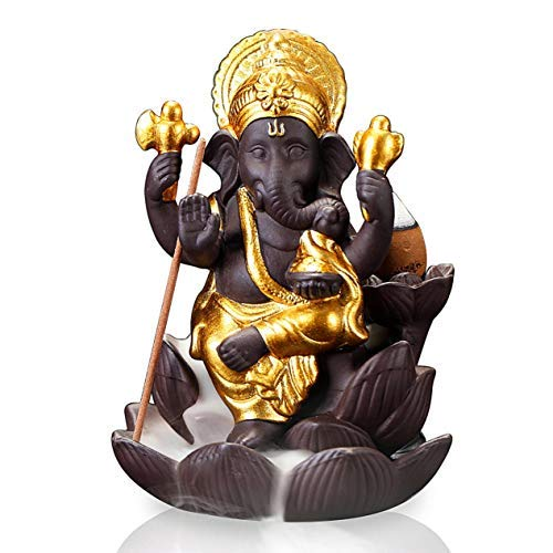 OTOFY Backflow Waterfall Ceramic Incense Holders, Backflow Fountain Incense Burner Figurine Incense Cone Holders Home Decor Gift Decorations Statue Ornaments (Flower Ganesha)