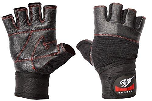 Armageddon Sports Guantes de fitness de piel auténtica con muñequeras perfectas para deporte y gimnasio (línea roja negra, S)