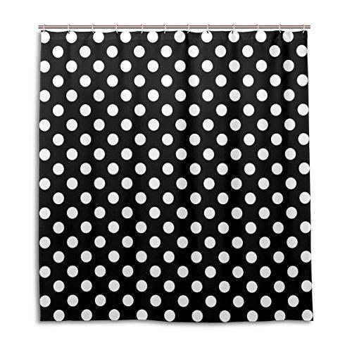 MyDaily Classic Duschvorhang mit Punkten, 182,9 x 182,9 cm, schimmelresistent, wasserfest, Polyester-Dekoration, Badezimmer-Vorhang, Schwarz/Weiß