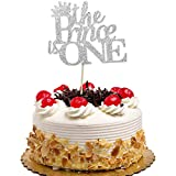 The Prince is One Cake Topper for 1st Boys Birthday, Baby Shower Party Decorations Silver Glitter