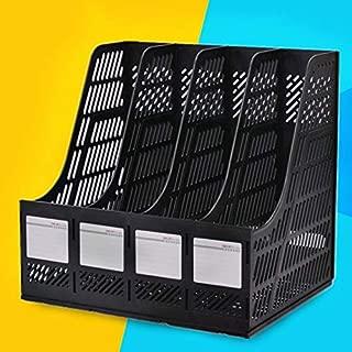 Yiherone 4 Sections Desk Organizer Office Supplies Appurtenance Desktop Tabletop Sorter Shelf(Black) New (Color : Black)