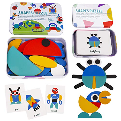 MaoXinTek Tangram Madera 36 Montessori Puzzle de Formas y 60 Diseño Tarjetas de Apilamiento Juguetes educativos Regalos para Niños Niñas