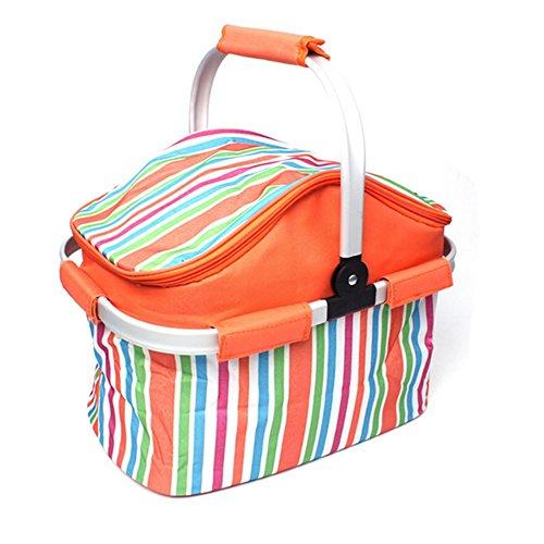 A-szcxtop - Cestino da pic-nic/borsa termica per alimenti, pieghevole, 20 L, leggero e resistente, arancione