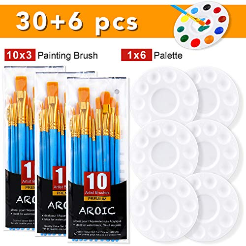 AROIC Painting Brush Palette Set, with 3 Packs of 30 Brushes and 6 Paint Tray Color Palettes,Nylon Brush Head, Suitable for Oil Watercolor, etc, Perfect Art Painting Set.