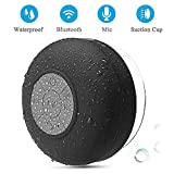 BONBON Waterproof Bluetooth Shower Speaker Portable Wireless Water-Resistant Speaker Suction Cup, Built-in Mic, Speakerphone Bathroom Outdoor Travel Hiking Bike Home Party-Black