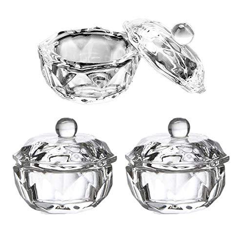 3 Pieces Nail Dappen Dish with Lid Glass Dapping Dish Nail Crystal Bowl