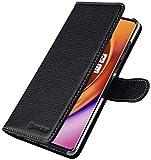 StilGut Talis entwickelt für OnePlus 8 Pro Hülle mit Kartenfach aus Leder, Wallet Hülle, Lederhülle mit Fächern und Magnet-Verschluss - Schwarz