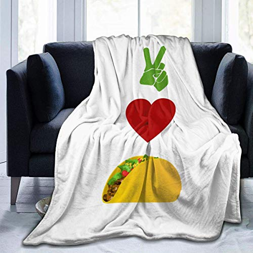 lanjiangbaih Peace, Love, Tacos Classic Tuco Bell Manta para sofá o Silla, Funda para Cama Perezosa, Regalo para niños y Adultos, 80 x 60 Pulgadas, Ver Imagen, 80x60 Inch
