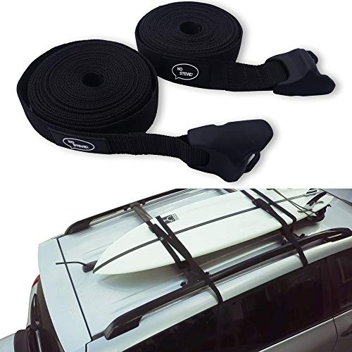 Ho Stevie! Surfboard Tie Down Straps 'No Scratch' 15ft (Pair) for Car Truck SUV with roof Racks - for SUP, Kayak, Canoe Also