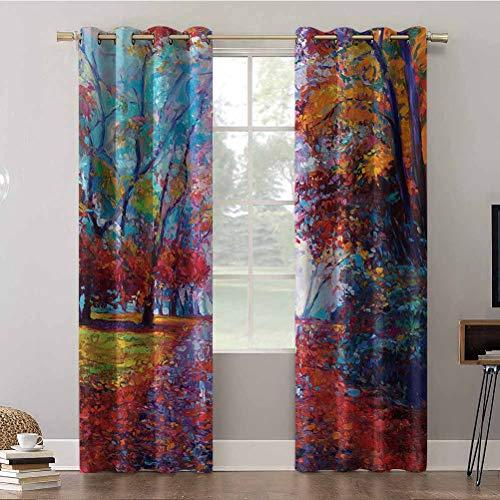 Cortinas Aishare Store, 52 x 95 paneles de cortina de ventana, colorida pintura de hadas del parque en otoño artes, vista de la tierra, cortinas opacas aislantes para dormitorio (2 paneles)