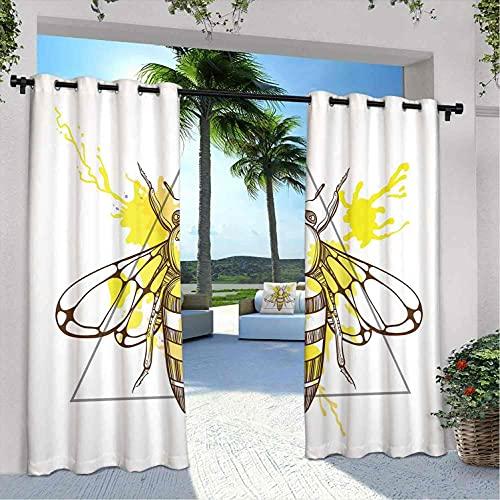 Queen Bee - Cortinas impermeables para cenador, diseño de abeja en color con fondo salpicado a mano, para dormitorio, sala de estar, porche, pérgola, 108 x 96 pulgadas, color marrón y amarillo