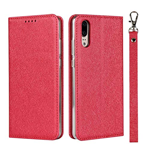 GIMTON Huawei P20 Hülle, Brieftasche Hülle mit Klapp Ständer und Magnet Verschluss für Huawei P20, Stoßfest Kratzfestes PU Leder Schutzhülle, Rot