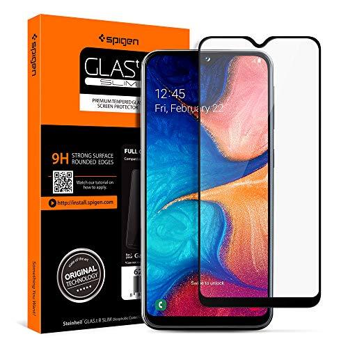 Spigen, Panzerglas Schutzfolie kompatibel mit Samsung Galaxy A20e, Schwarz Volle Abdeckung, Kristallklar, 9H gehärtetes Glas, Antikratz, Glas 0.33mm, Galaxy A20e Panzerglas (624GL27014)