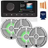 """Fusion MS-RA210 Marine AM/FM/BT/NEMA2000/SiriusXM Ready Stereo with 2 Pair Wet Sounds RECON6-XWW-RGB High Output 6.5"""" RGB Lighting Marine Coaxial Speakers,"""