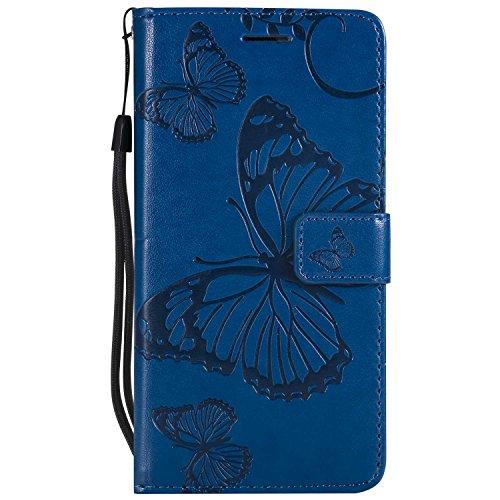 DENDICO Cover Huawei P9 Lite, Pelle Portafoglio Custodia per Huawei P9 Lite Custodia a Libro con Funzione di appoggio e Porta Carte di cRossoito - Blu