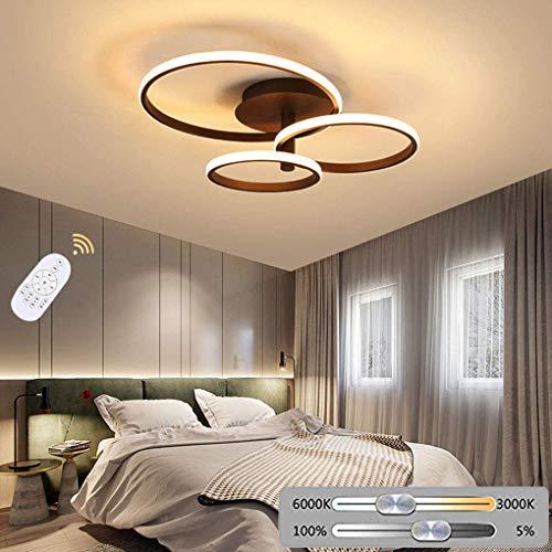 LED CABEZA LED LED LED LED Sala de estar Luz de techo Dormitorio moderno Lámpara de techo Dimmable con control remoto Decoración de 3 anillos Luminaria Luminaria Iluminación de techo para Hall Hotel L