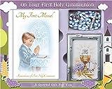 Set de regalo de primera comunión con misal, rosario y marco de fotos de C5175 para niño