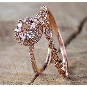 2 Carat Morganite and Diamond Wedding Ring Set for Women In Rose Gold