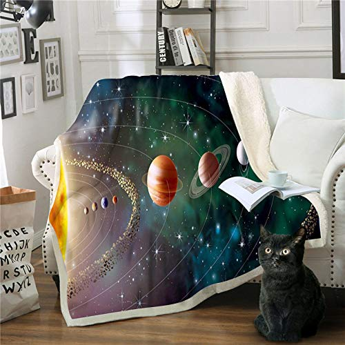 FDDSSYX Printed Throw Blanket,Abstract Starry Sky Blanket Square 3D Printed Sherpa Blanket Couch Quilt Cover Travel Bedding Plush Throw Fleece Blanket Bedspread Sofa,75×100Cm/30×40Inch
