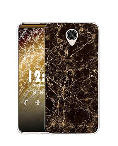 Sunrive Kompatibel mit Meizu Pro 6 Plus Hülle Silikon, Transparent Handyhülle Schutzhülle Etui Hülle (TPU Marmor Schwarzer)+Gratis Universal Eingabestift MEHRWEG