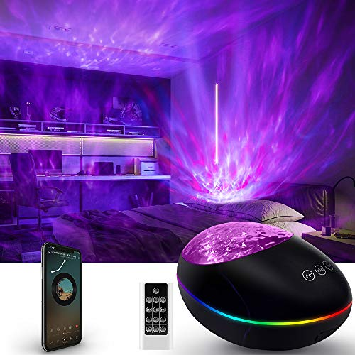 Galaxy Projector Led Star Night Light for Bedroom,Starry Skylight for Adults or Kids, Light up Ceiling with Ocean Wave, Nebula & Aurora, 3 in 1 Lamp with Bluetooth Speaker, Aesthetic Game Room Decor
