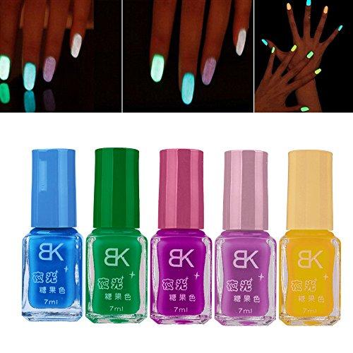 -5pcs Neón fluorescente luminoso de uñas del gel