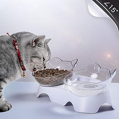 Hylow Tazón para Mascotas ortopédico Anti-vómitos basculante Doble alimentador purificador de Agua Soporte para Beber Recto