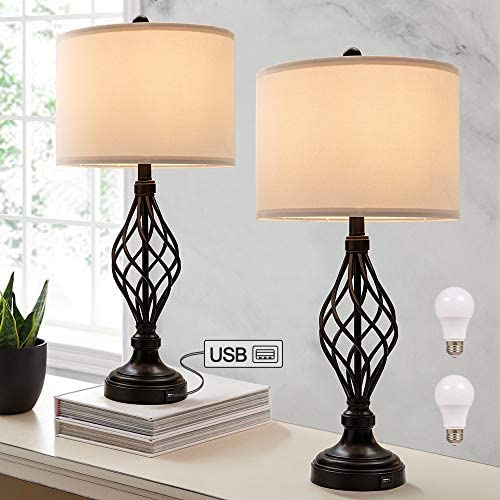 28 H Bedside Table Lamp Set of 2 for Bedroom with USB Port 9 5W LED Bulbs Included Large Bronze product image
