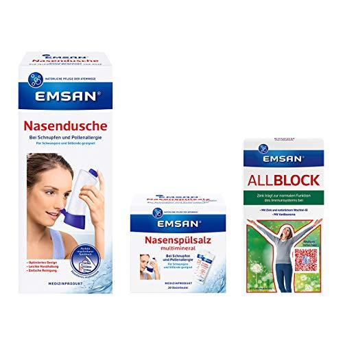 Emsan Set Allergie Set mit Nasendusche, Salz, Allblock