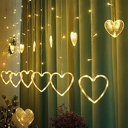 Luci a LED per Tende, AISOO 2.5M/8.2FT 138LED Luci a LED Stringhe a Forma di Cuore a Batteria Illuminazione Decorative Impermeabili Interno Esterni per Natale Matrimonio Casa Camera Compleanno Festa
