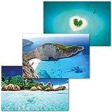 GREAT ART Juego de 3 Carteles XXL – Islas – Zakynthos Heart Island Seychelles Shipwreck Caribbean Ocean Decoración de Pared de Interiores póster Cada uno de 140 x 100 cm