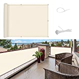 SUNNY GUARD Pantalla para Balcón Jardín Protección de Privacidad PES Resistente a los Rayos UV Protección contra el Viento, con Ataduras de Cables, 75x300cm Crema