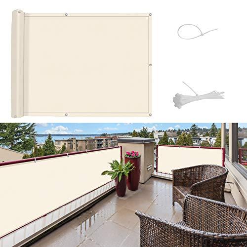 SUNNY GUARD Balkon Sichtschutz Balkonabdeckung PES UV-Schutz Windschutz Balkonverkleidung Wasserdicht wetterfester mit Kabelbinder,75x600cm Cremeweiß
