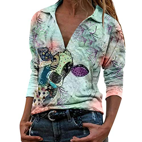 Bull Head Animal Print Ladies Camiseta de Manga Larga con Solapa Casual para Mujer Camiseta con Estampado...