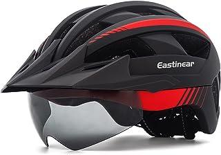 EASTINEAR Casco Bicicleta con Visera LED Luz Trasera Casco MTB para Adulto Hombre Mujer Casco Bicicleta Montana con Gafas ...