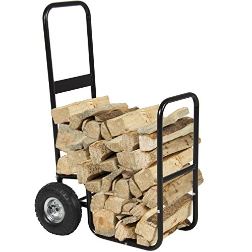Firewood storage cart with wheels, firewood mover rolling dolly