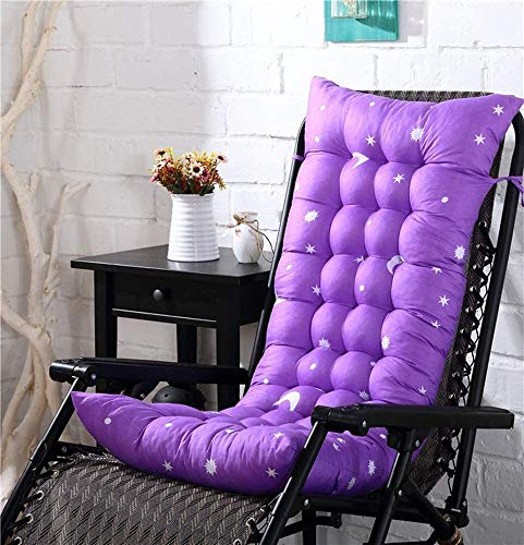 Indoor Outdoor Patio High Seat Back Chair Cushion for Rocking Chair with 6 Ties Thick Padded Chaise Lounger Swing Bench Cushion Loveseat Recliner Pads (Color : Moon Purple, Size : 481258)