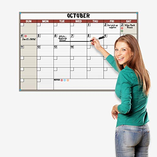 Dunwell 24x36 Dry Erase Calendar - (Earthtone) Undated Large Dry Erase Calendar for Wall, Reversible Reusable Monthly and Weekly Dry Erase Calendar, Wipe Off Calendar Poster Shipped Rolled Not Folded