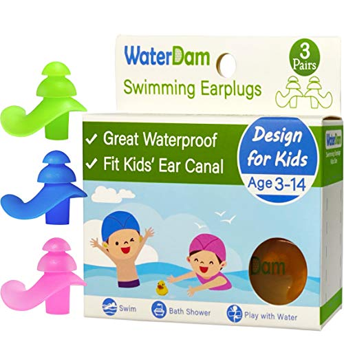 WaterDam Ear Plugs for Swimming Kids – 3 Pairs Soft Silicon Earplugs Reusable, Great Waterproof !!!Prevent Swimmer's Ear(Green, Blue, Pink)