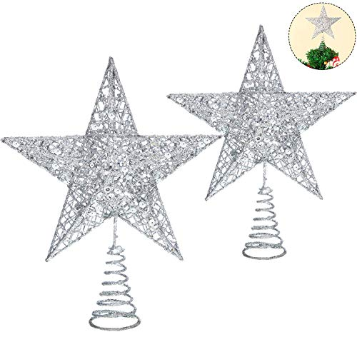 Blulu 2 Pieces Metal Glittered Christmas Tree Topper Star Treetop Hollow Wire Star Topper for Christmas Tree Ornament, 2 Sizes (Silver)