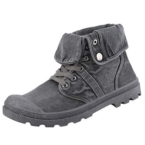 Herren High-Top Espadrilles Schuhe Segeltuchschuhe Stiefel mit Dickem Boden Plateauschuhe Stiefeletten Outdoor-Schuhe, Grau