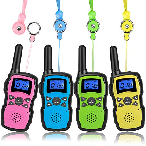 Wishouse Walkie Talkies for Kids 4 Packs,Family Walky Talky Two Way Radio Adults Long Range,Outdoor Camping Fun Toys Birthday Present Xmas Gifts for 3 4 5 6 7 8 9 10 Year Old Girls Boys (No Battery)