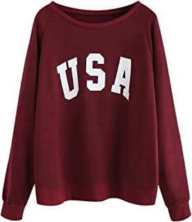 〓COOlCCI〓Women USA Letter Printed Graphic Cute Sweaters Funny Pullover Teen Girls Sweatshirts Pullover Tops Blouse Shirts