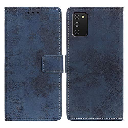 SULIAN Funda para Samsung Galaxy A02S, Premium Cuero Billetera Ranura Tarjeta Antichoque Funda para Samsung Galaxy A02S 6.5' - Azul