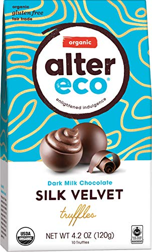 Alter Eco | Silk Velvet Truffles | 39% Pure Dark Cocoa, Organic Dark Chocolate Truffles, 10 Truffle Bag