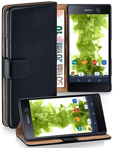 MoEx Funda Cartera [protección 360°] Compatible con Sony Xperia M5 | Cierre magnético, Noir