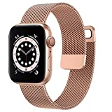 OUHENG Compatible with Apple Watch Bands 44mm 42mm 40mm 38mm, Magnetic Stainless Steel Mesh Loop Metal Band Strap for iWatch Series 6/5/4/3/2/1 SE (Rose Gold, 44mm 42mm)